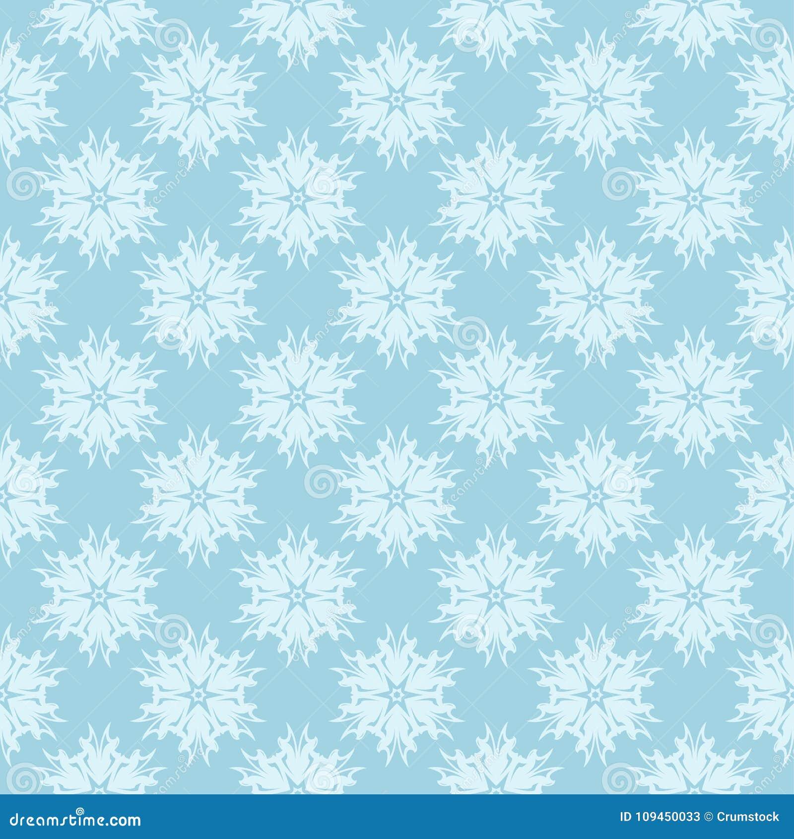 Белый флористический орнамент на сини картина безшовная