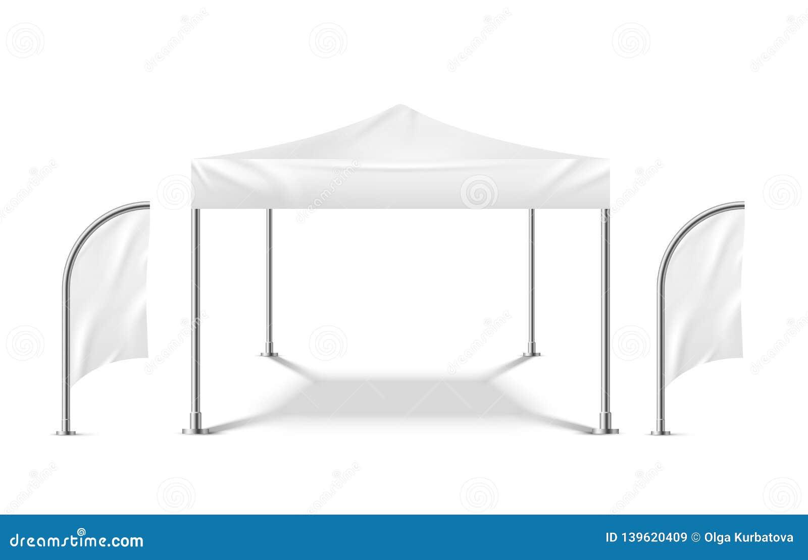Белый шатер с флагами Шаблон шатра партии на открытом воздухе материального павильона события пляжа модель-макета шатра Promo моб