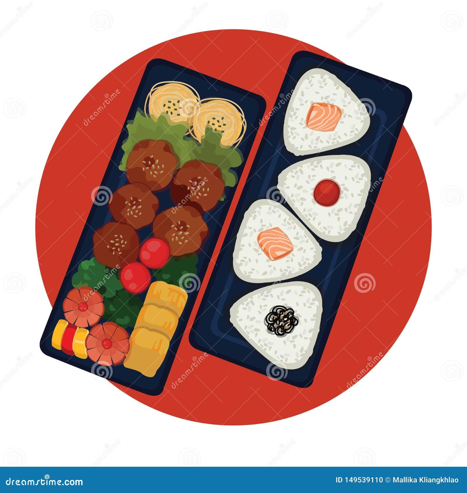 Бенто - японская коробка для завтрака с шариками риса