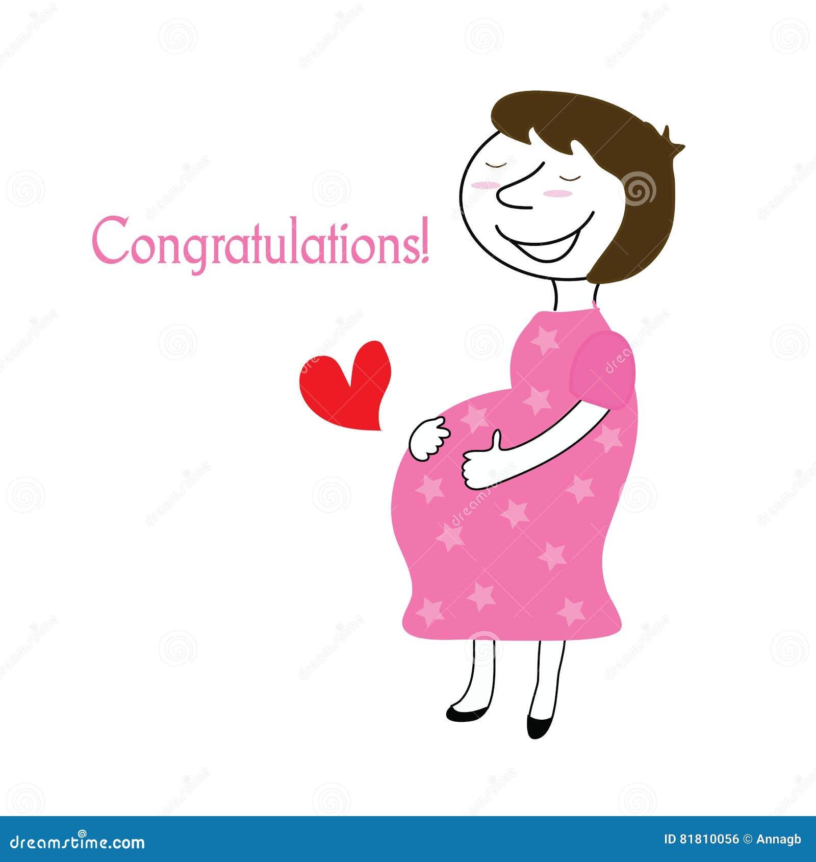 Беременная поздравительная открытка также вектор иллюстрации притяжки corel острословие поздравлениям