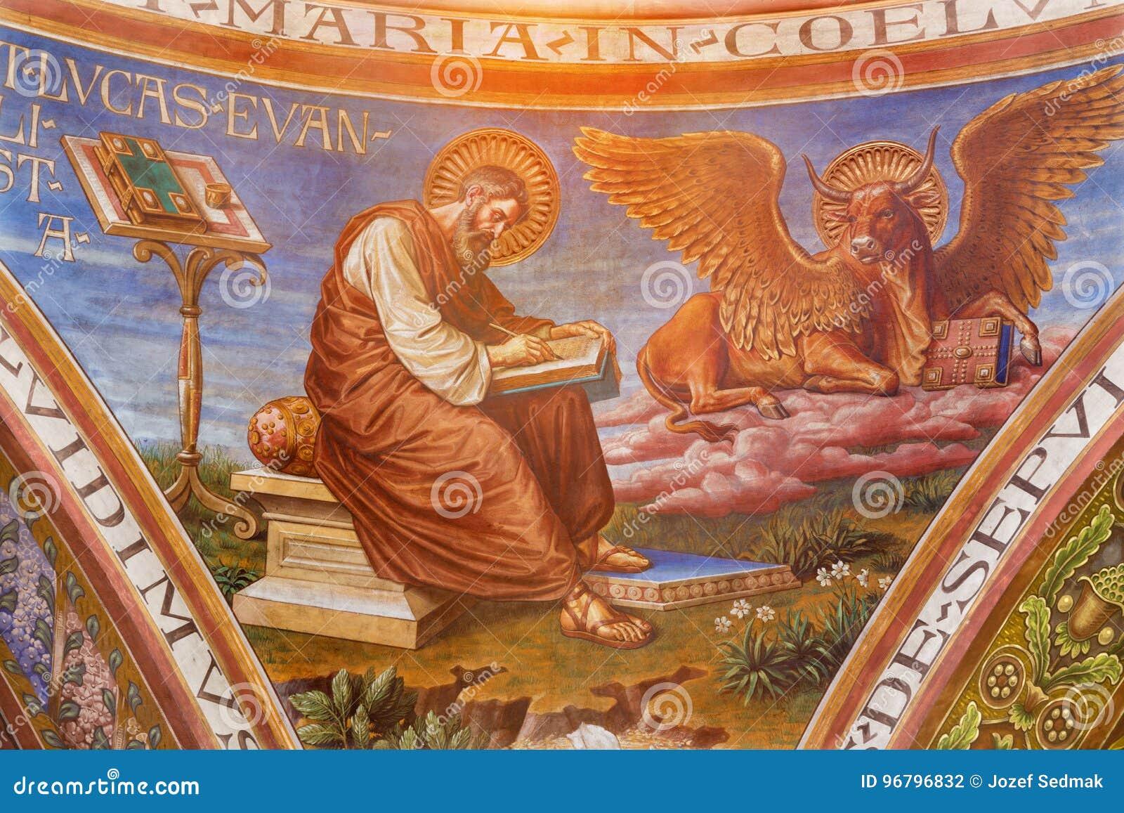 БЕРЛИН, ГЕРМАНИЯ, 15 -ГО ФЕВРАЛЬ -, 2017: Фреска St Luke евангелист в куполке базилики Rosenkranz