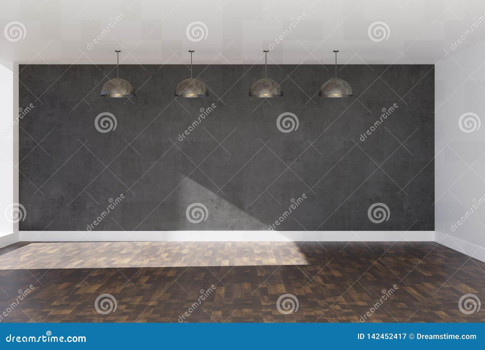 бетонная стена перевода 3d серая с коричневыми слоистыми настилом и потолочными лампами