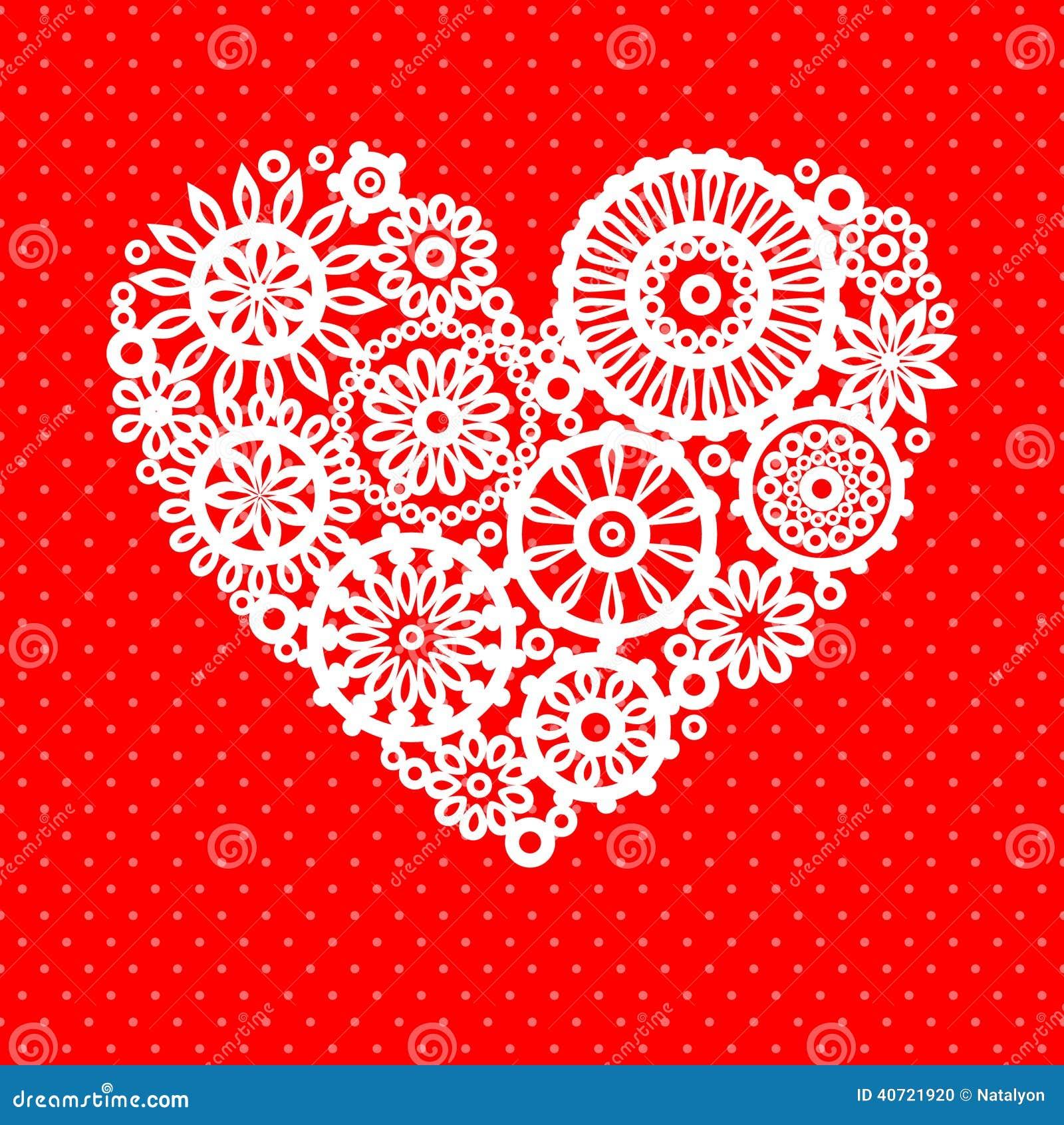 Белое сердце цветка шнурка вязания крючком на красной романтичной поздравительной открытке, предпосылке вектора