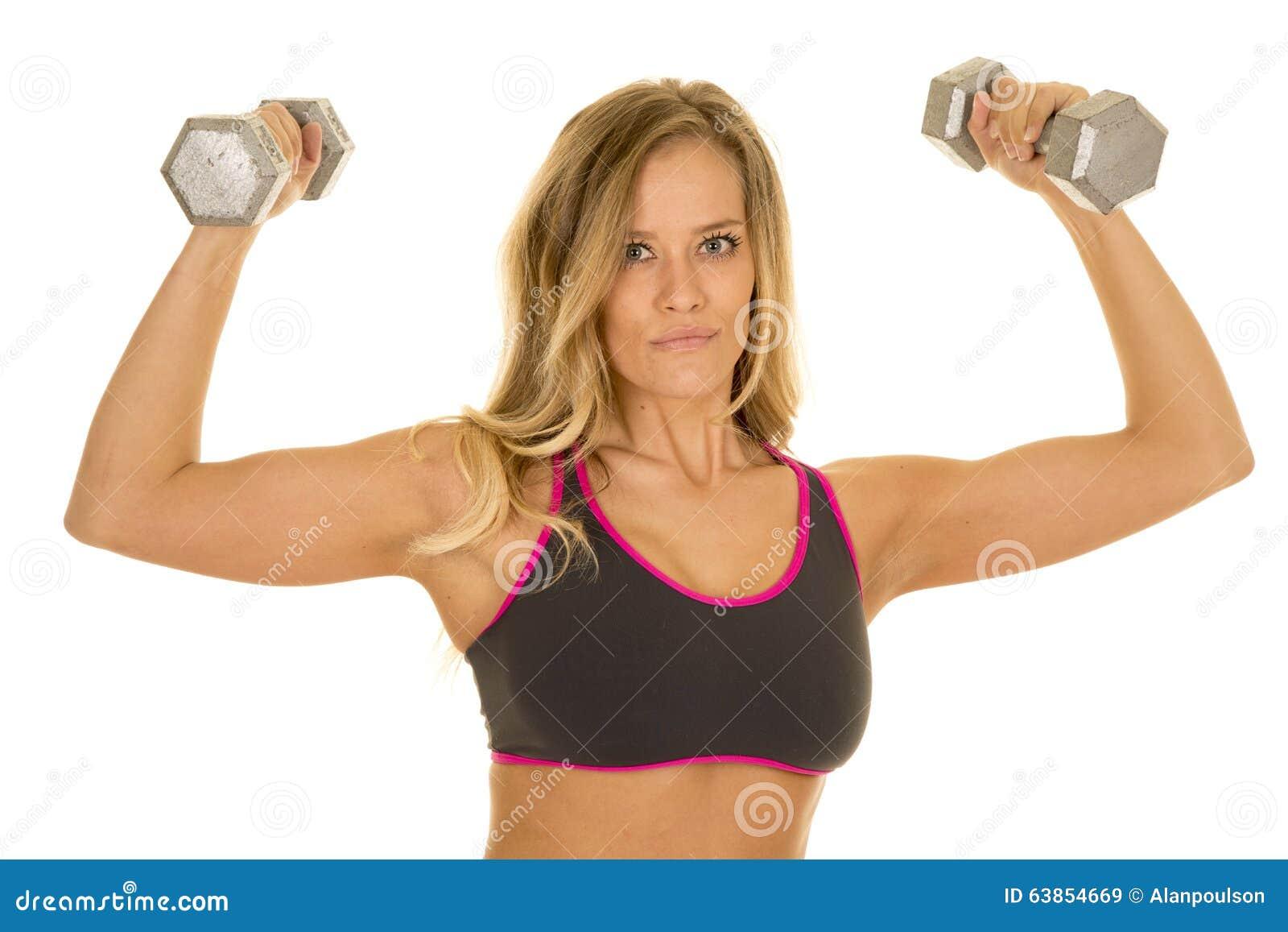 Белокурый гибкий трубопровод женщины утяжеляет смотреть бюстгальтера спорт серого цвета