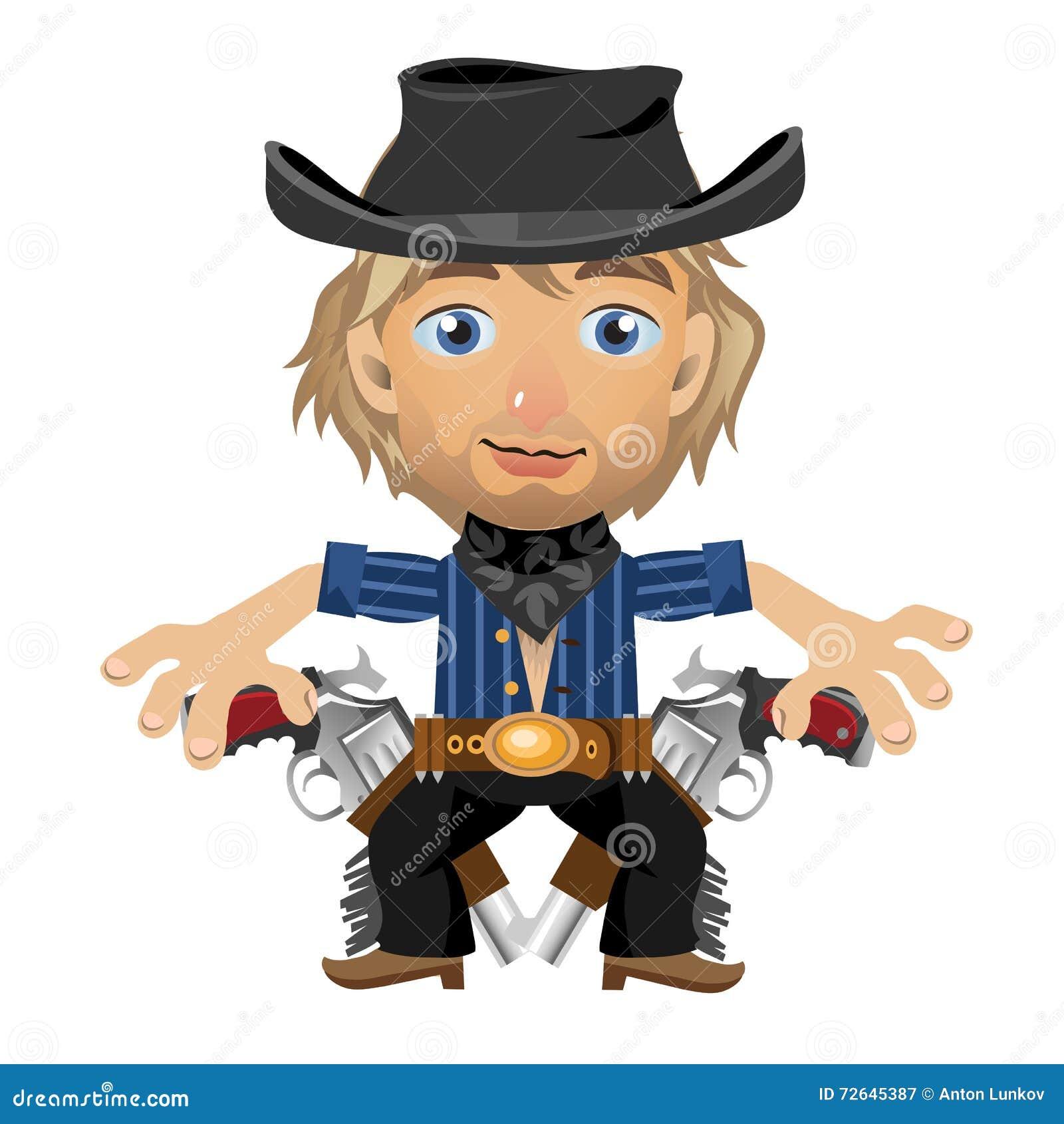 Белокурый парень в шляпе с кобурой и оружи