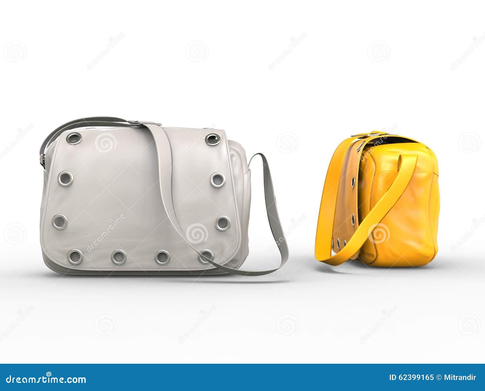 Белые и желтые сумки