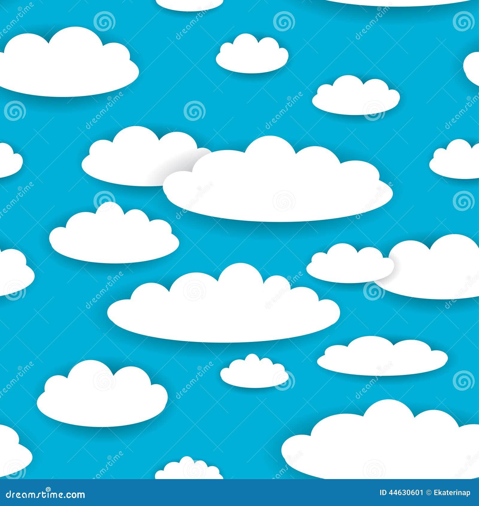 Белые облака на картине предпосылки голубого неба безшовной