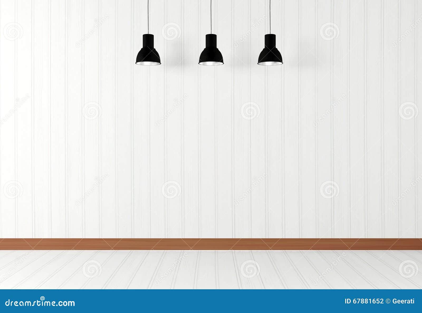 Белый пустой интерьер комнаты с потолочными лампами