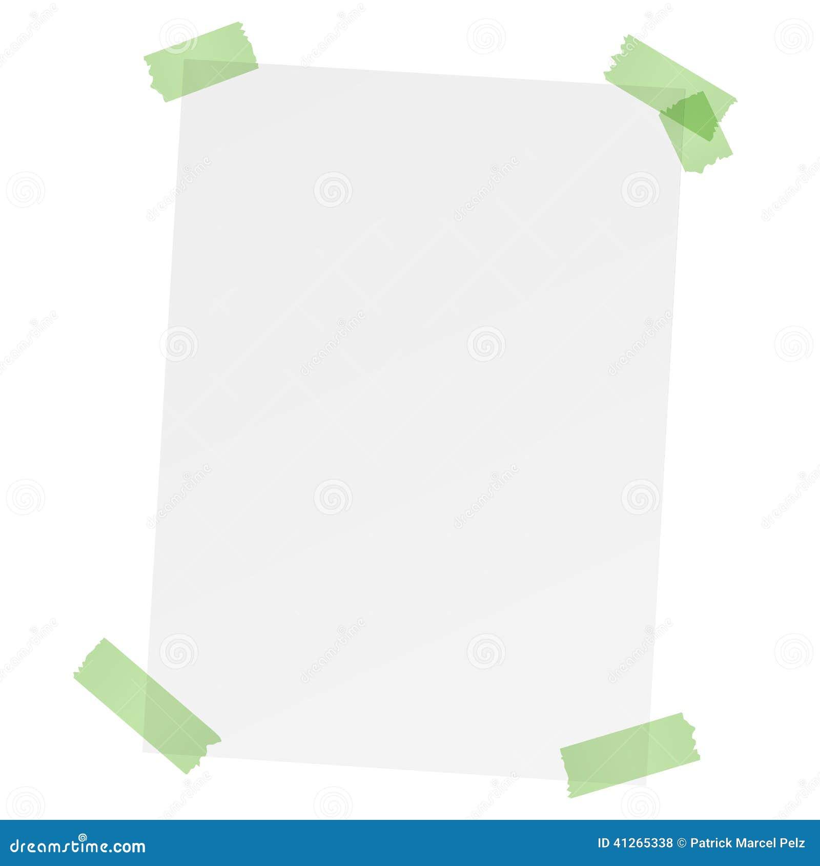 Белый чистый лист бумаги с покрашенной лентой