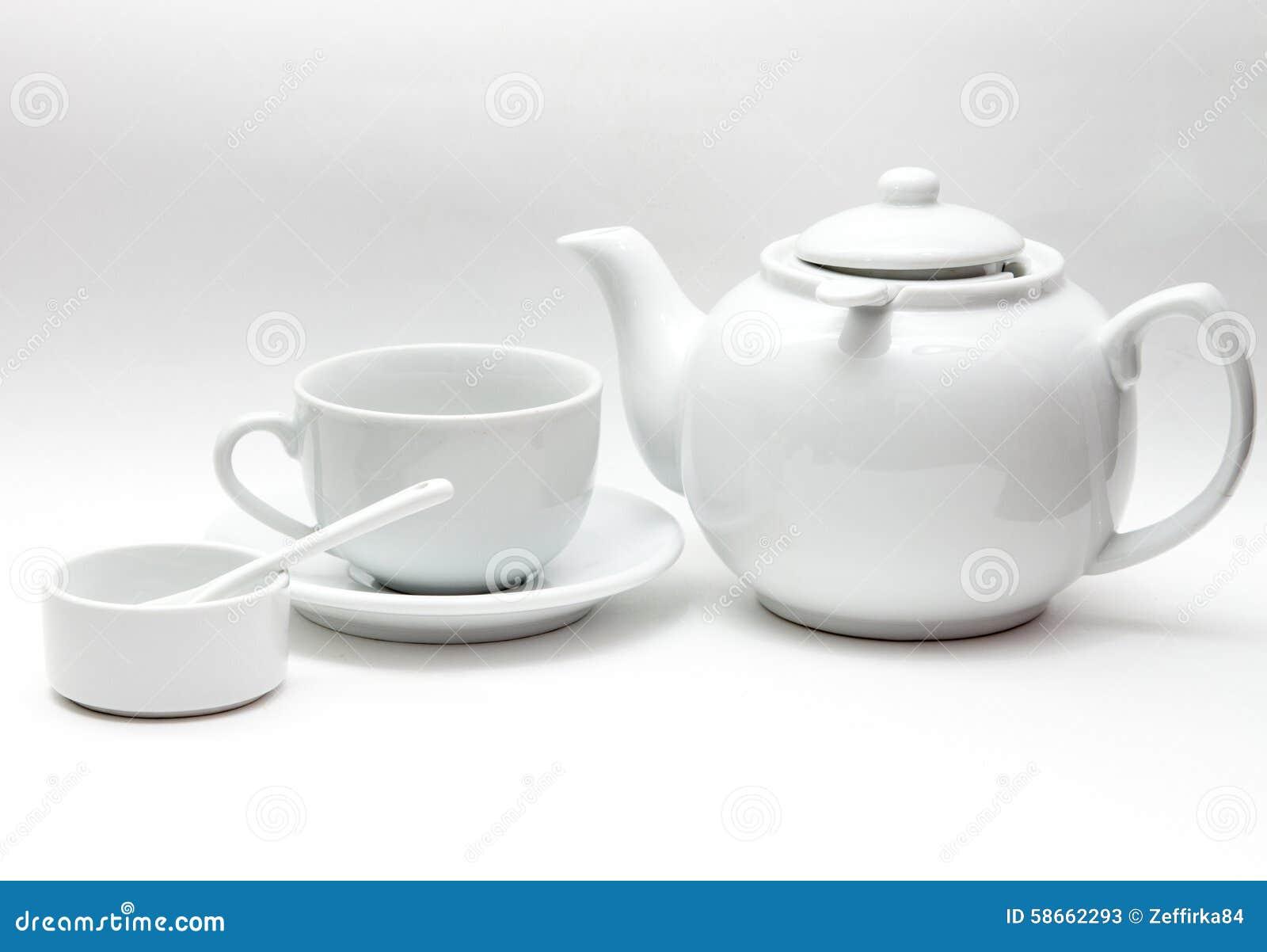 Белый tableware, большой чайник, чашка, шар