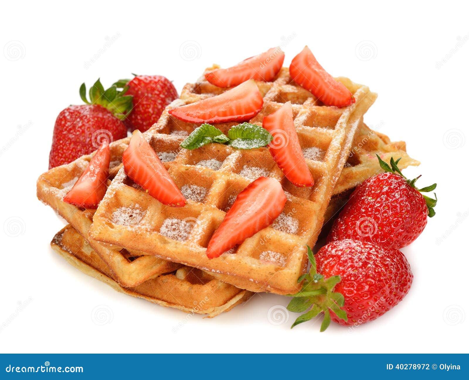 Бельгийские waffles с клубниками