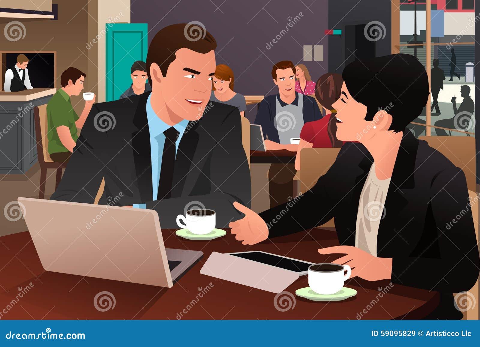Бизнесмены есть совместно в столовой