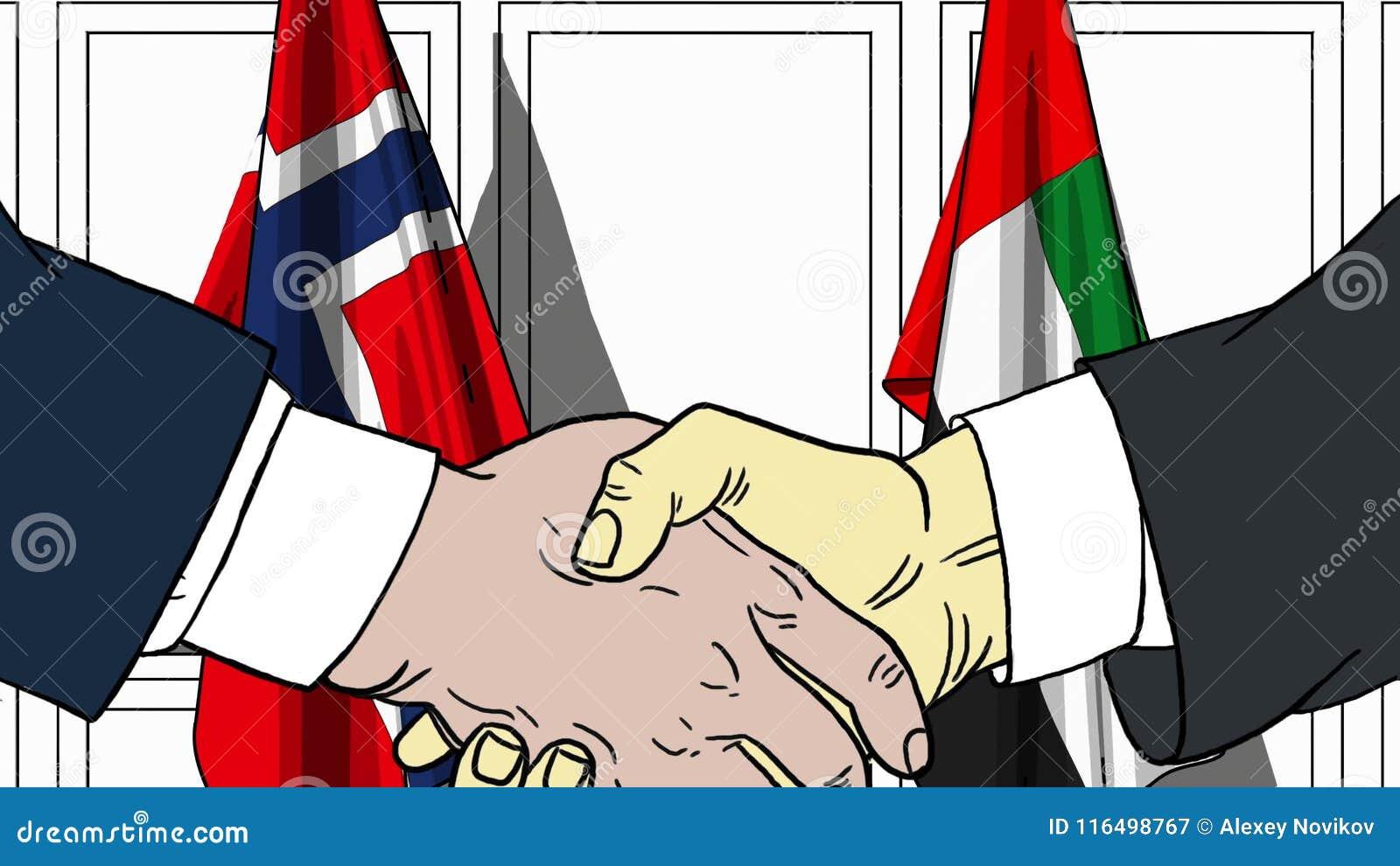 Бизнесмены или политики трясут руки против флагов Норвегии и ОАЭ Официальное заседание или шарж сотрудничества родственный