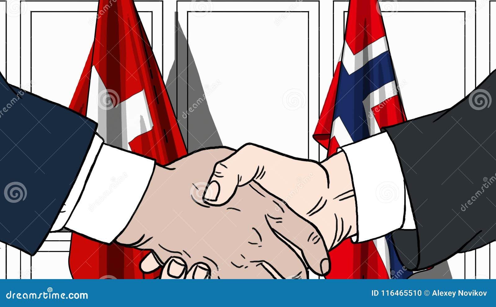 Бизнесмены или политики трясут руки против флагов Швейцарии и Норвегии Связанные официальное заседание или сотрудничество