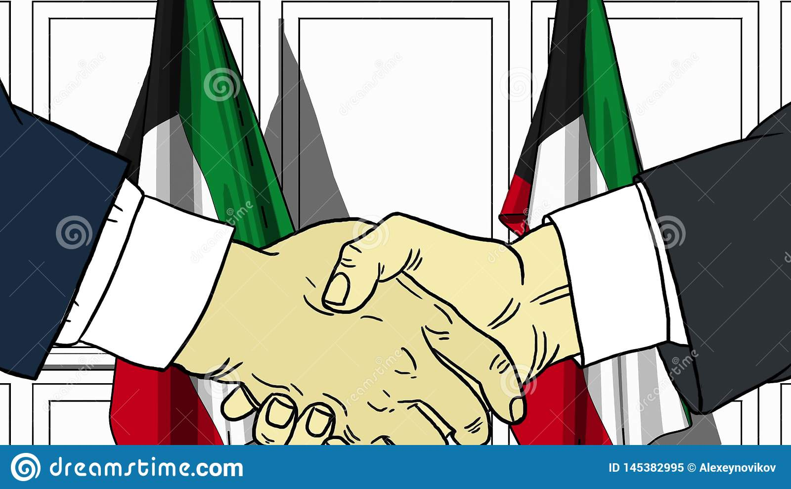 Бизнесмены или политики тряся руки против флагов Кувейта Иллюстрация встречи или мультфильма сотрудничества родственная
