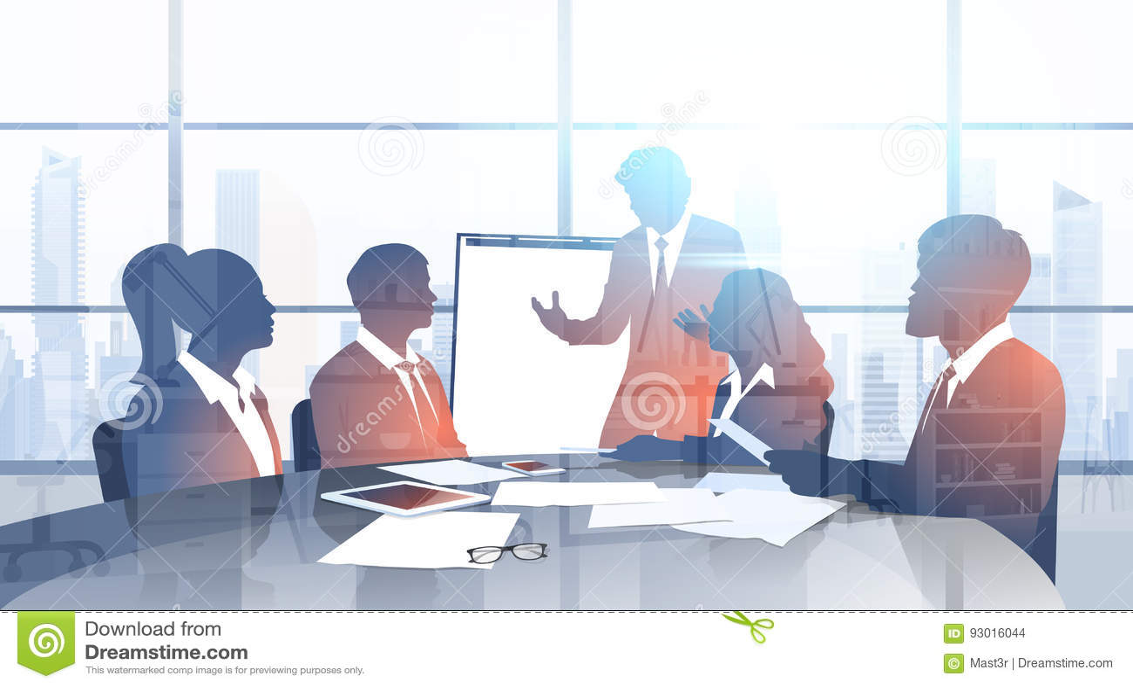 Бизнесмены команды силуэта с представлением метода мозгового штурма конференции тренировки семинара диаграммы сальто в современно