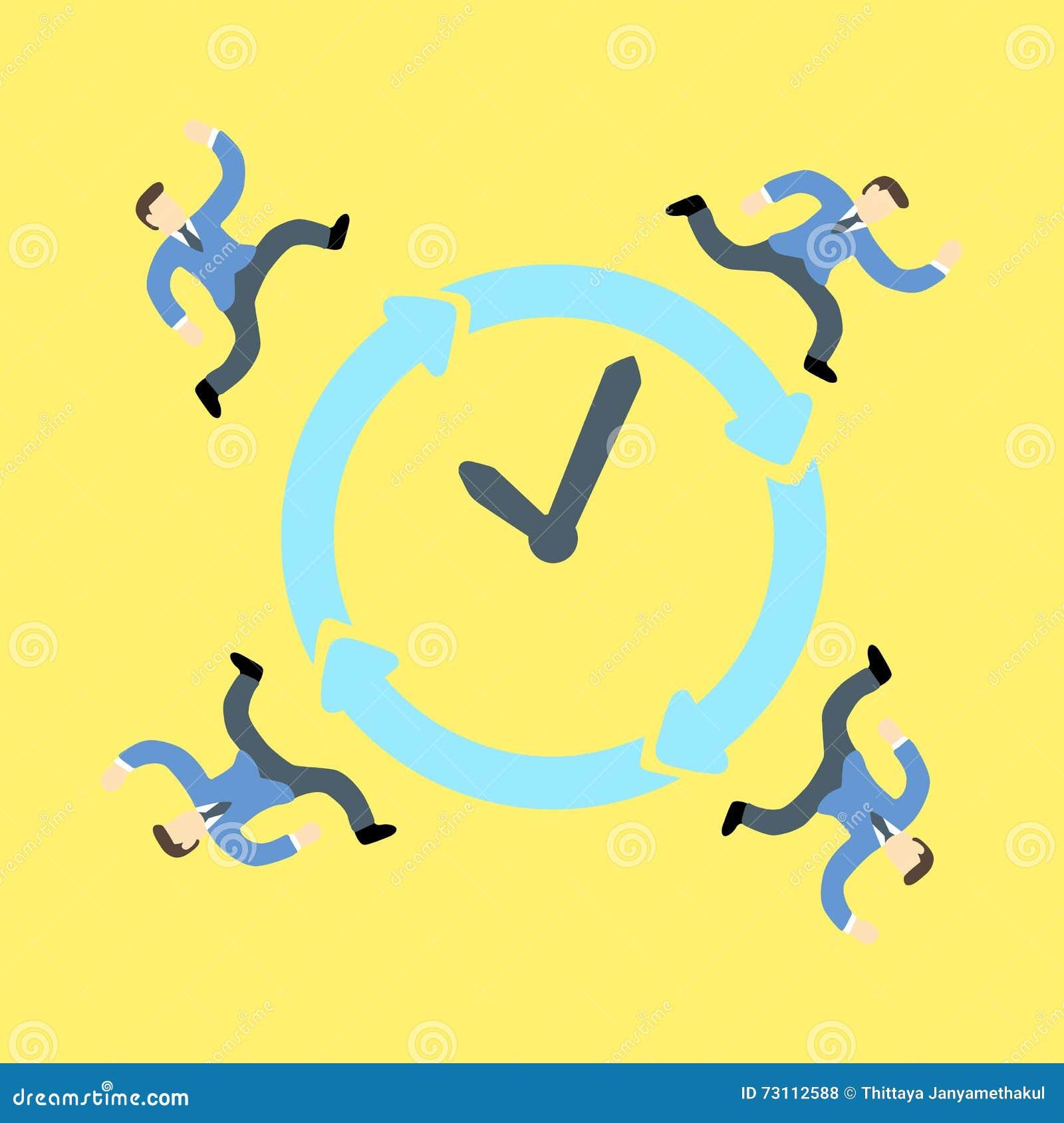 Бизнесмены участвуя в гонке против времени вокруг часов