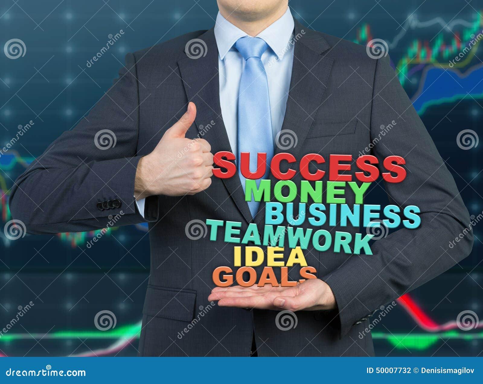 Бизнесмен давая большой пец руки вверх