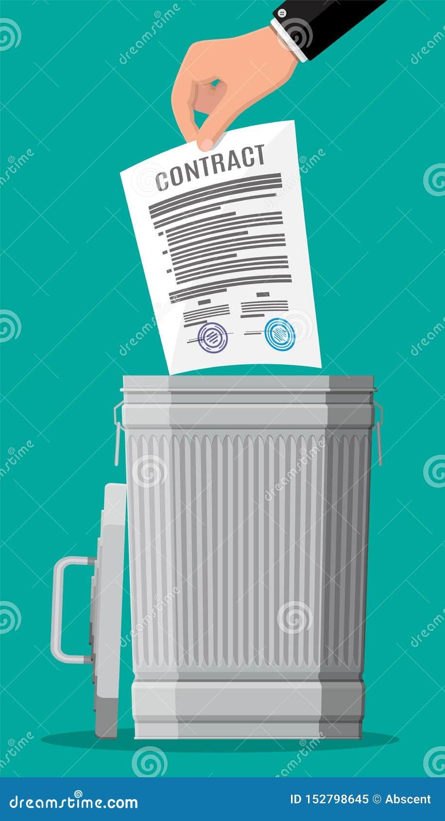 Бизнесмен бросает контракт в мусорном ведре