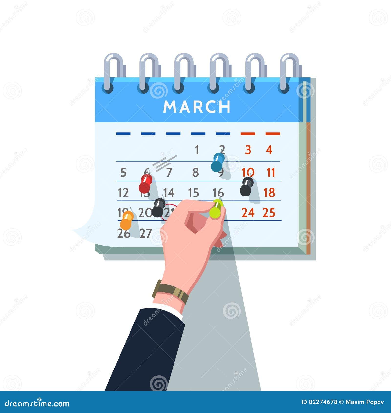 Бизнесмен вставляя штырь нажима в план-график месяца