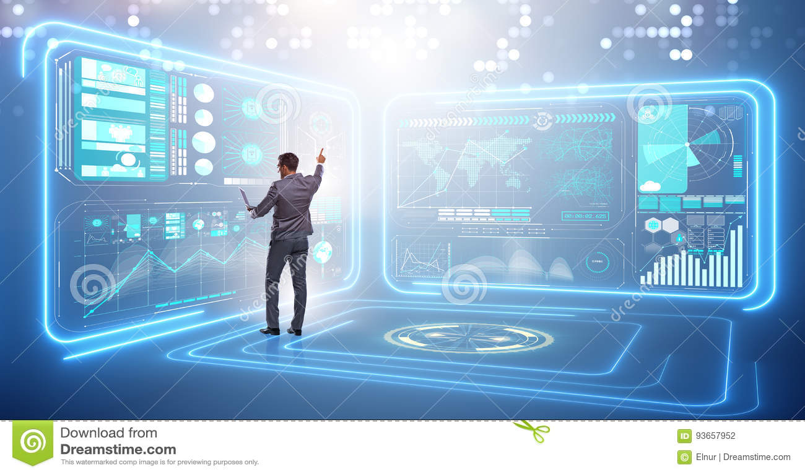 Бизнесмен в большой концепции управления данными