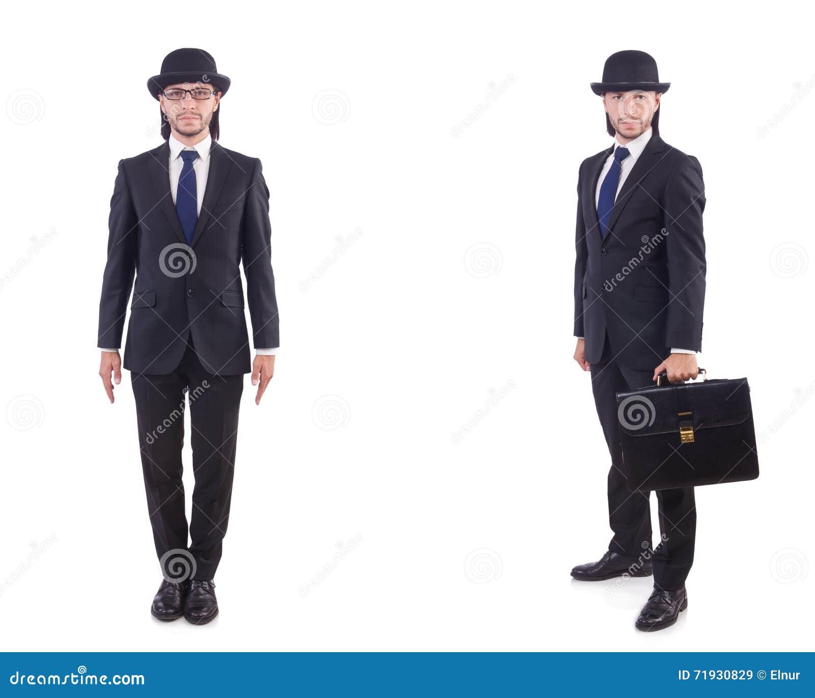 Бизнесмен в винтажной концепции изолированный на белизне