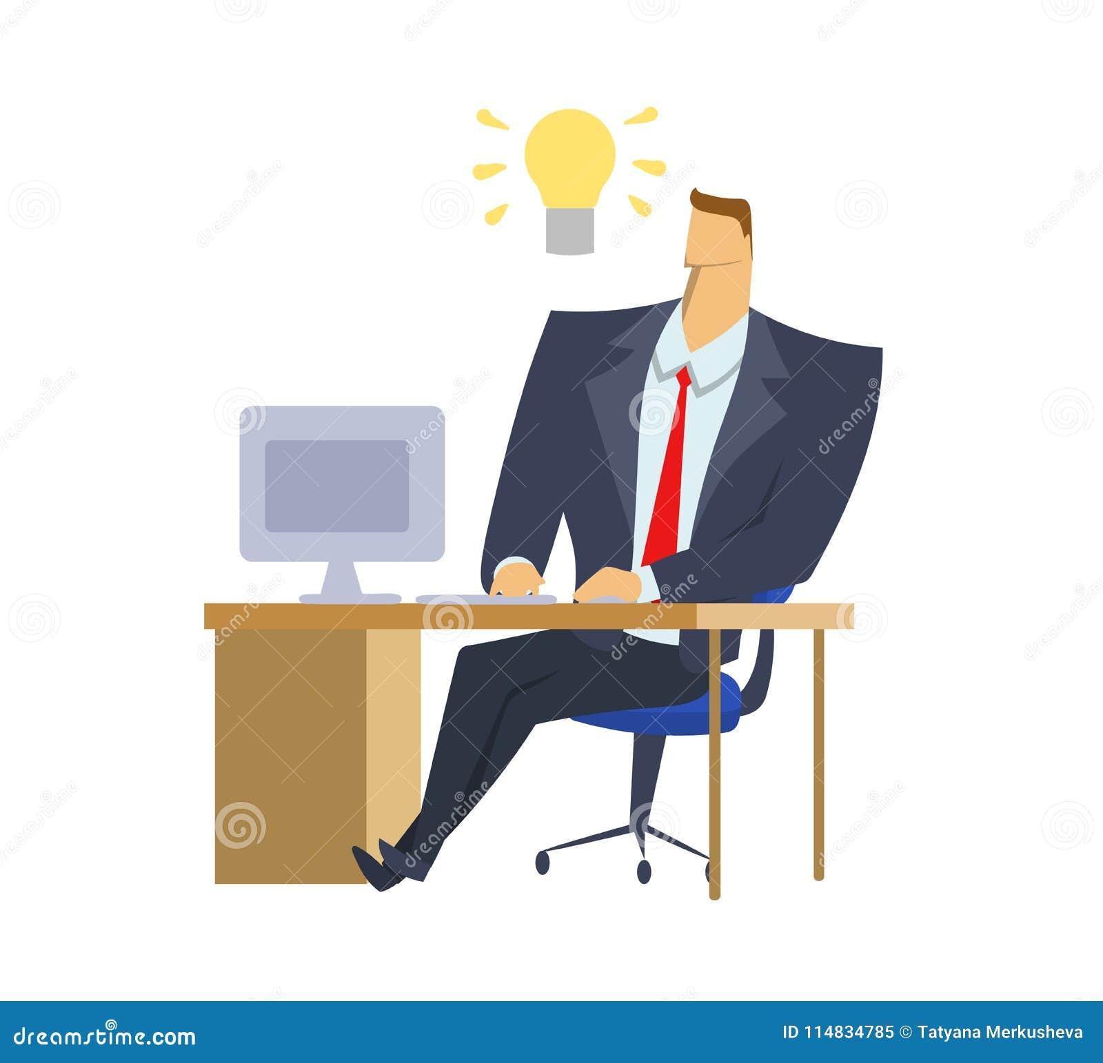Бизнесмен в костюме офиса сидя перед компьютером с лампочкой идеи над его головой Момент лампочки