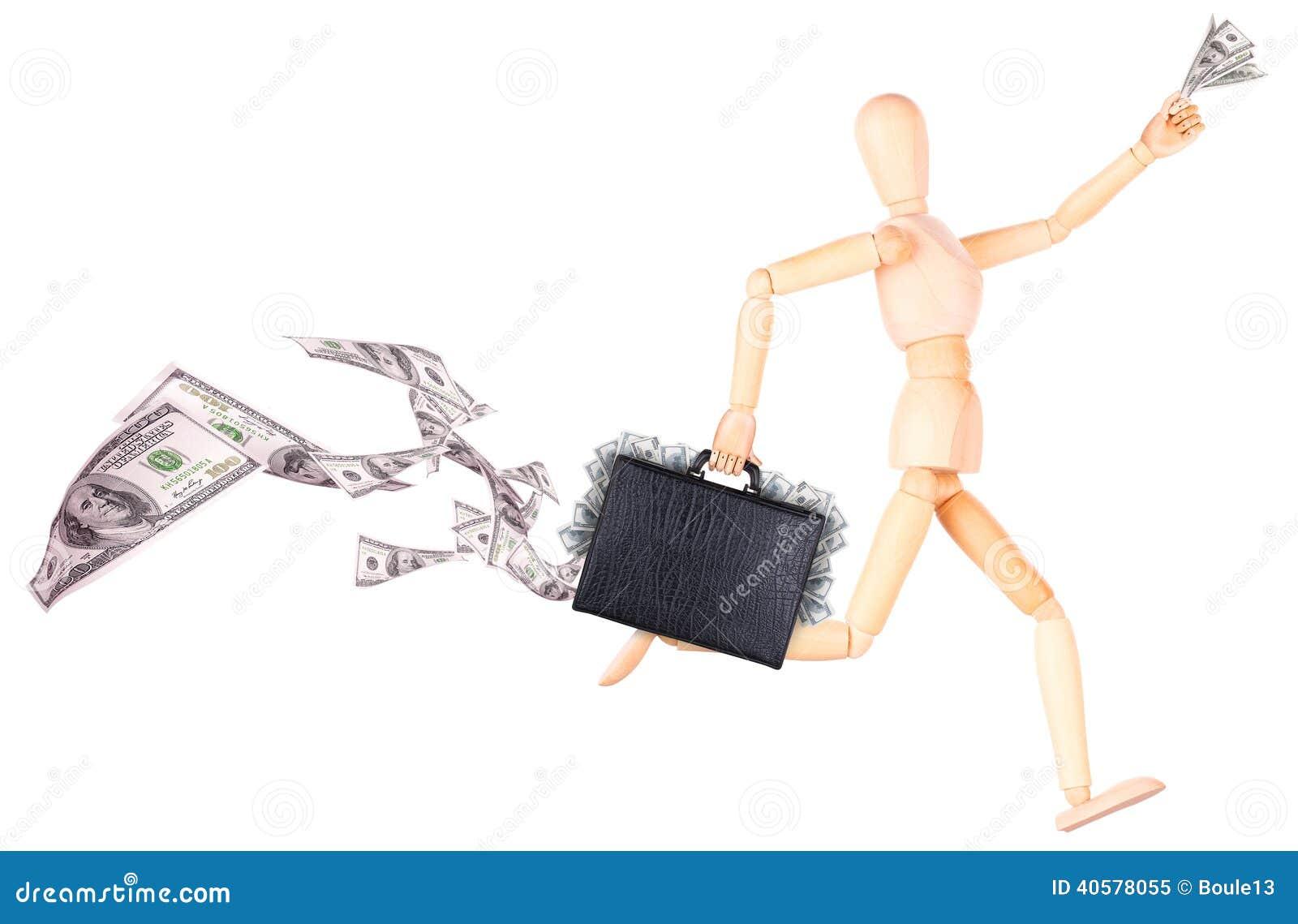 Бизнесмен держа случай с деньгами