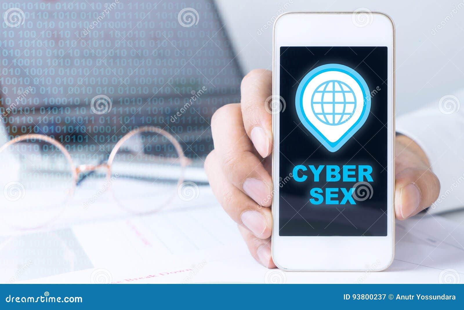 Бизнесмен держит телефон для секса кибер