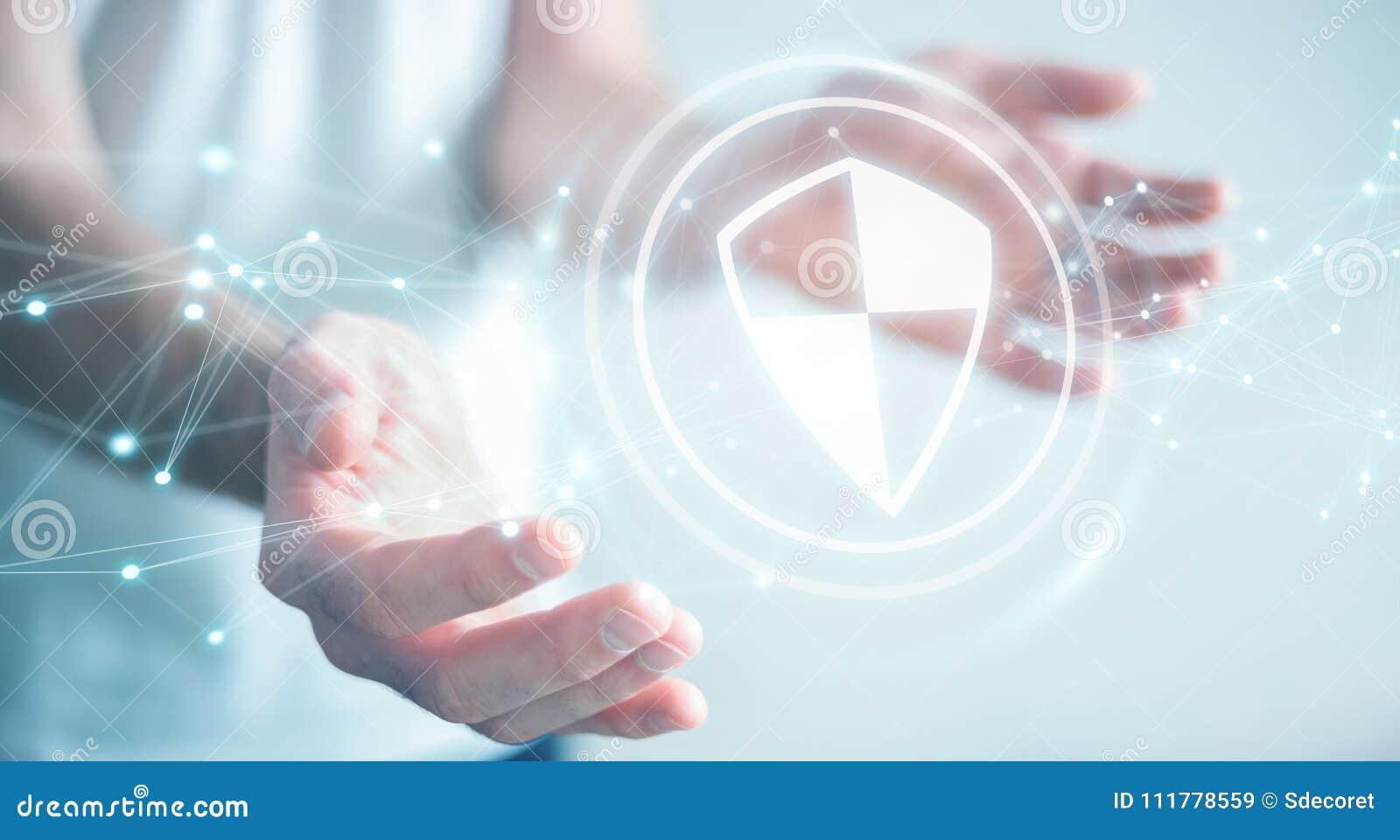 Бизнесмен используя предохранение от экрана безопасное с соединениями 3D ren
