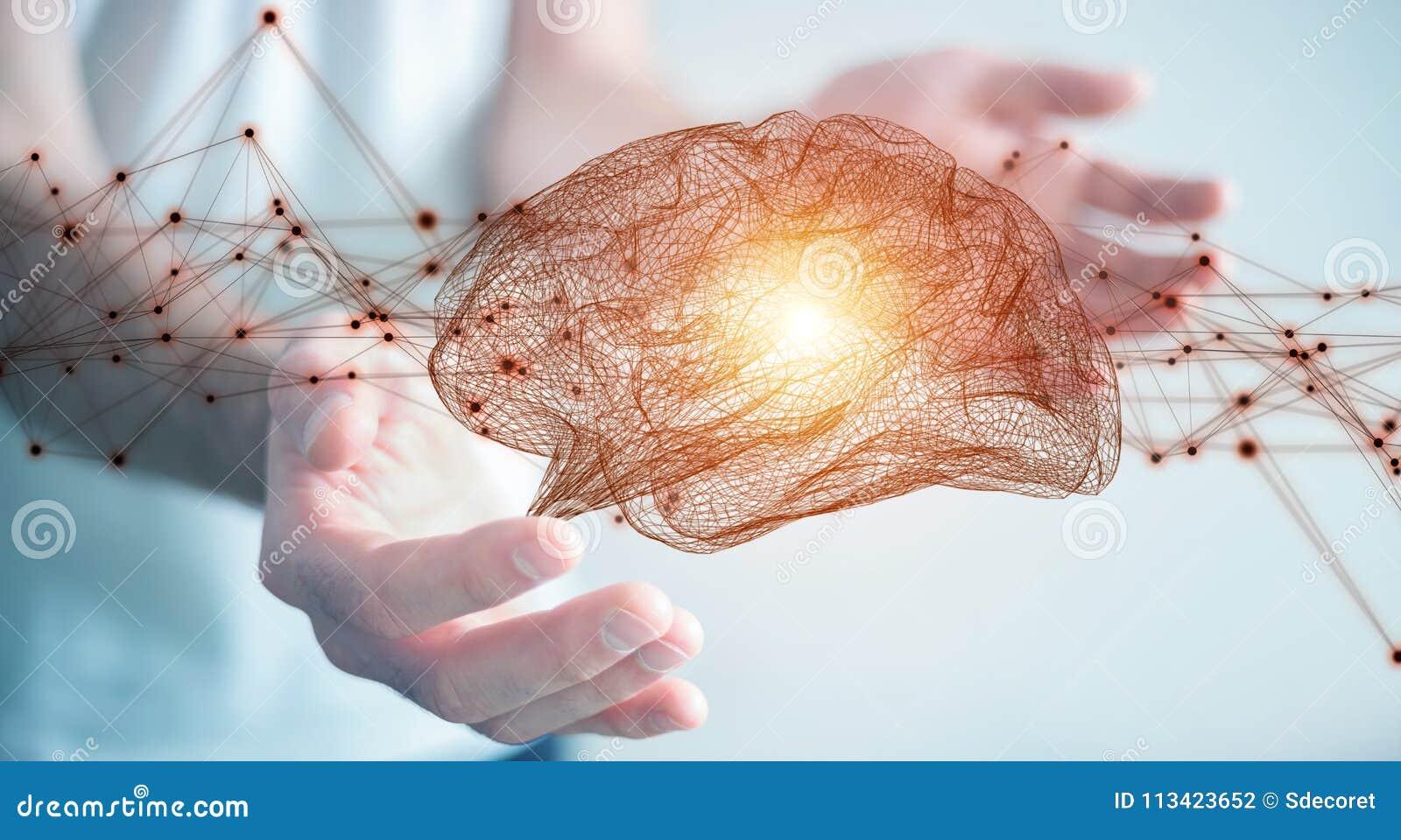 Бизнесмен используя цифровое renderi интерфейса 3D человеческого мозга рентгеновского снимка