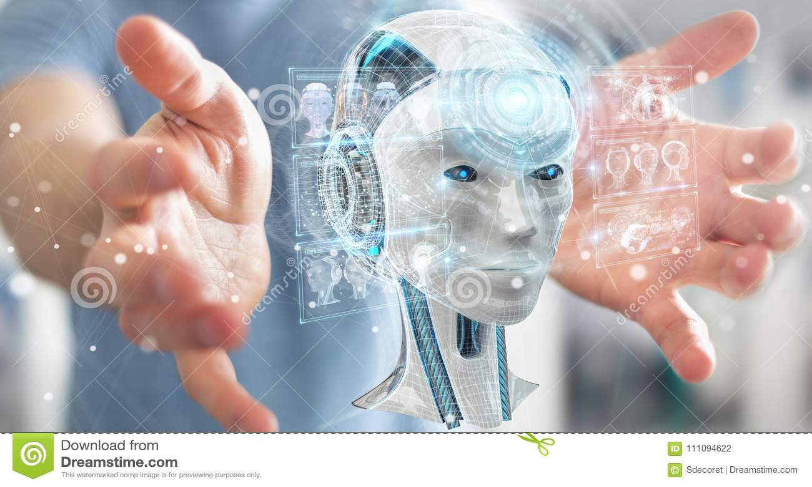 Бизнесмен используя цифровой интерфейс 3D r искусственного интеллекта