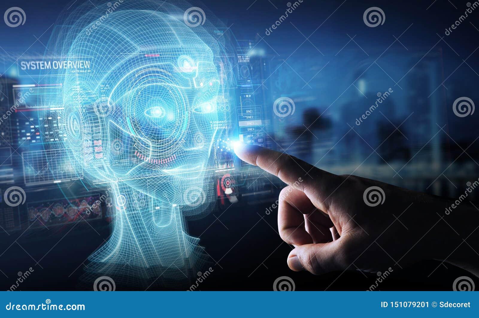 Бизнесмен используя цифровой перевод интерфейса 3D головы искусственного интеллекта