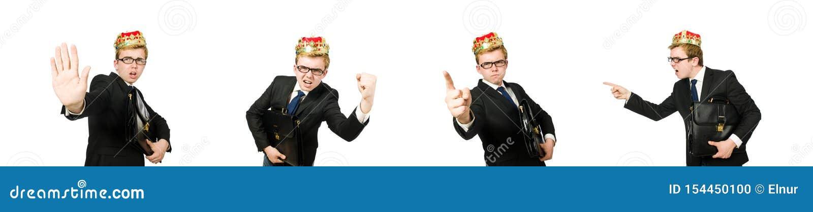 Бизнесмен короля в смешной концепции