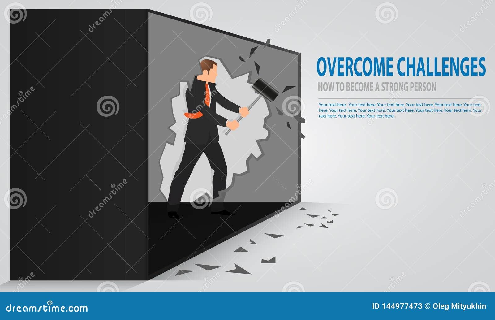 Человек треская старую бетонную стену Бизнесмен ломая стену с молотком Понятие барьеров пробивания изоляции и достигнуть целей