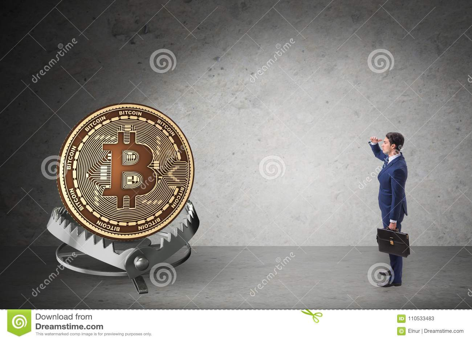 Бизнесмен падая в ловушку cryptocurrency bitcoin