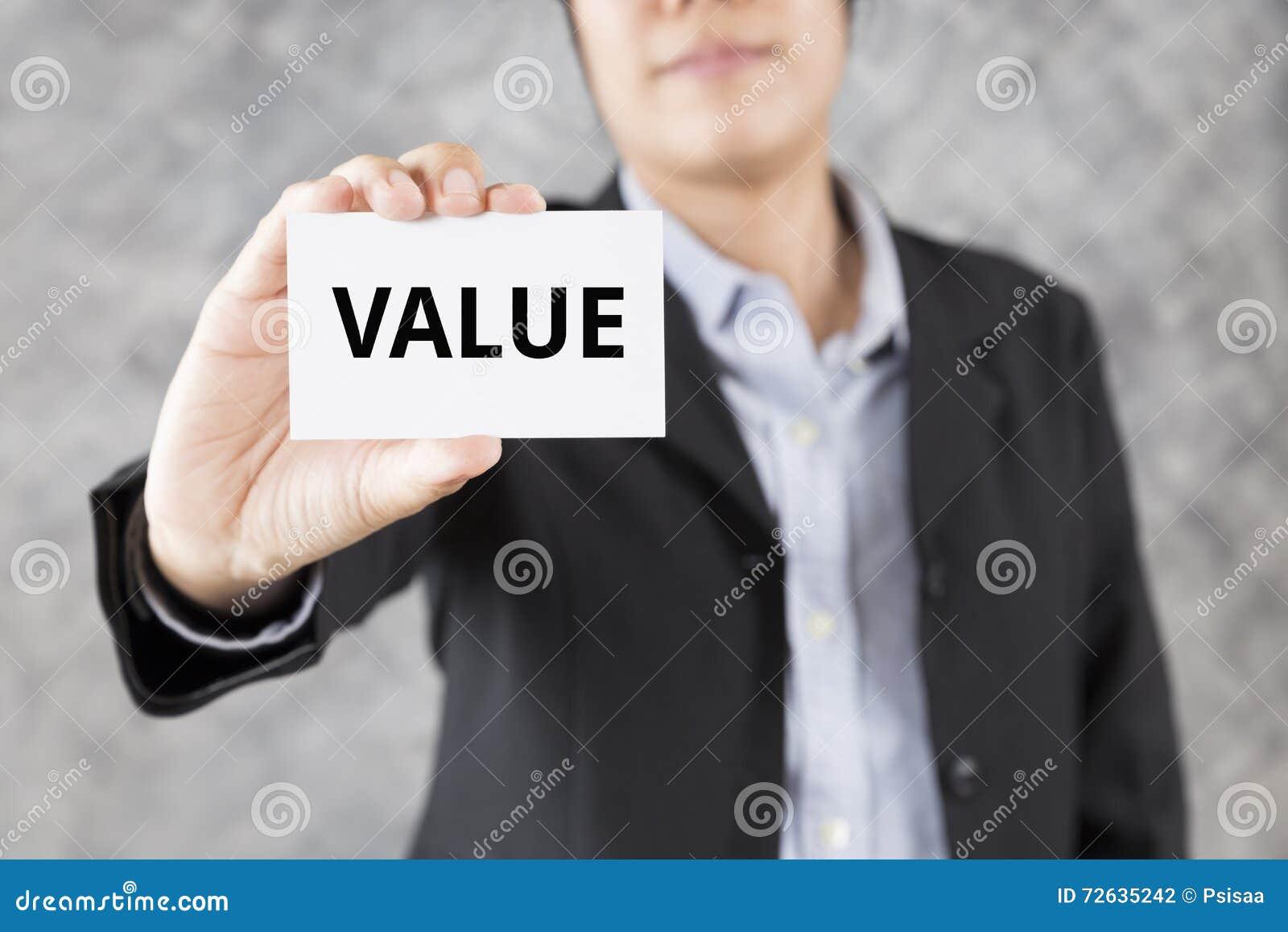 бизнесмен представляя визитную карточку с значением слова