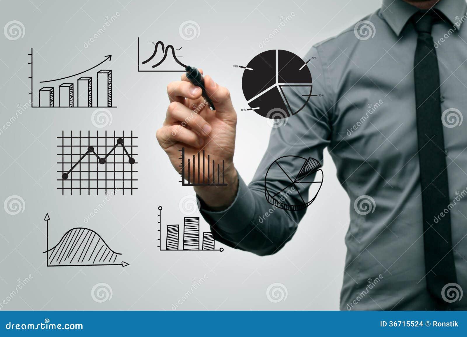 Бизнесмен рисуя различные диаграммы и диаграммы