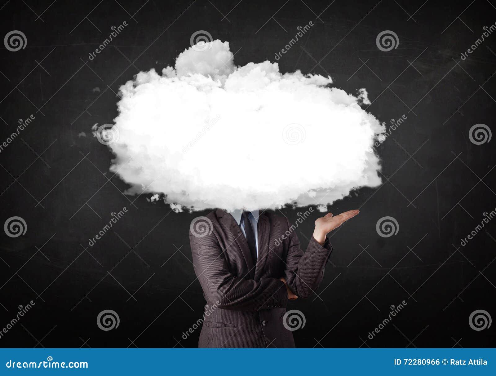 Download Бизнесмен с белым облаком на его головной принципиальной схеме Стоковое Фото - изображение насчитывающей гловально, пусто: 72280966