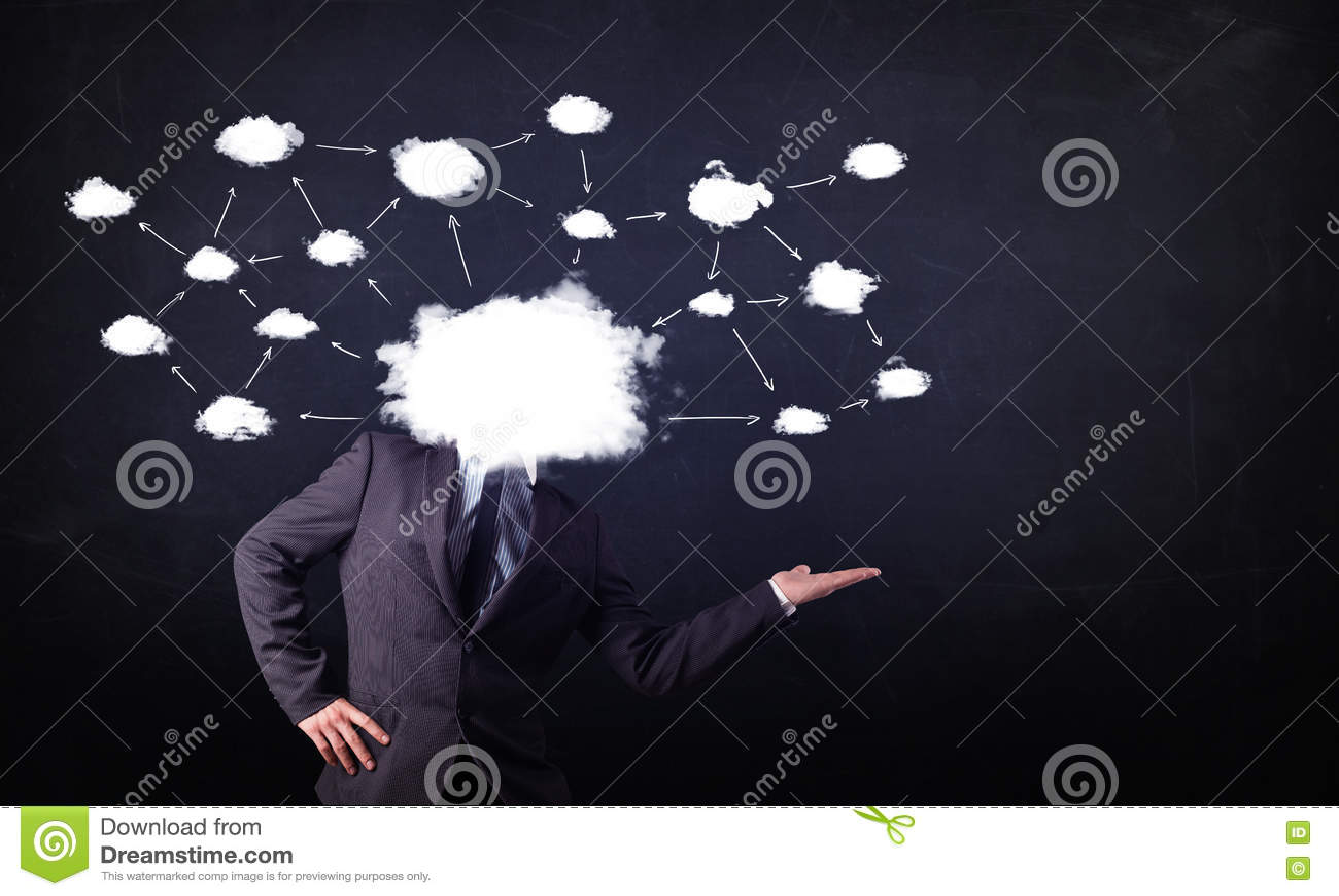 Download Бизнесмен с головой сети облака Стоковое Изображение - изображение насчитывающей облако, карта: 72280905