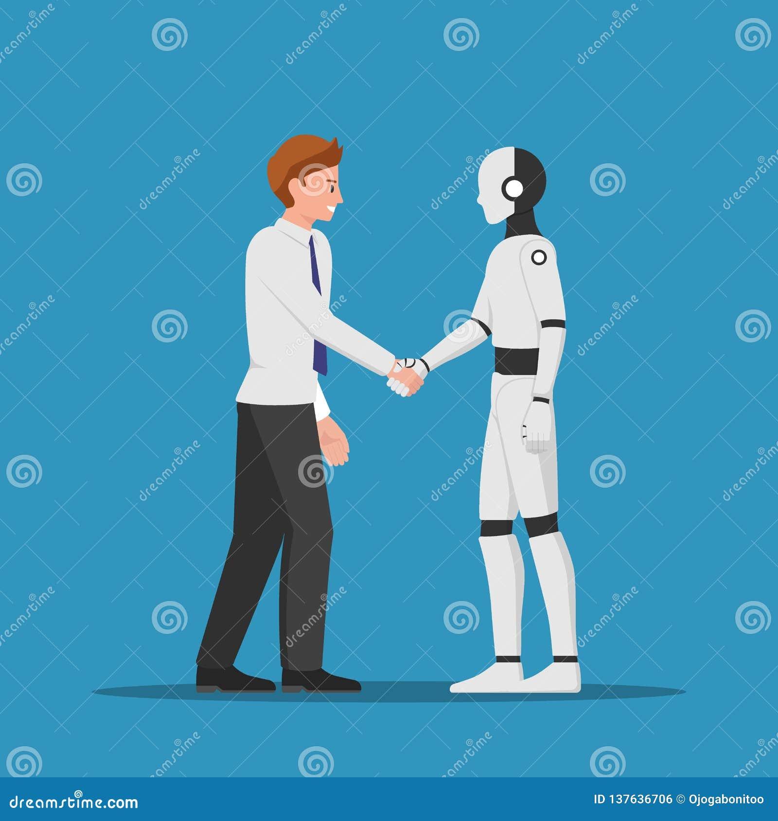 Бизнесмен тряся руку с роботом AI