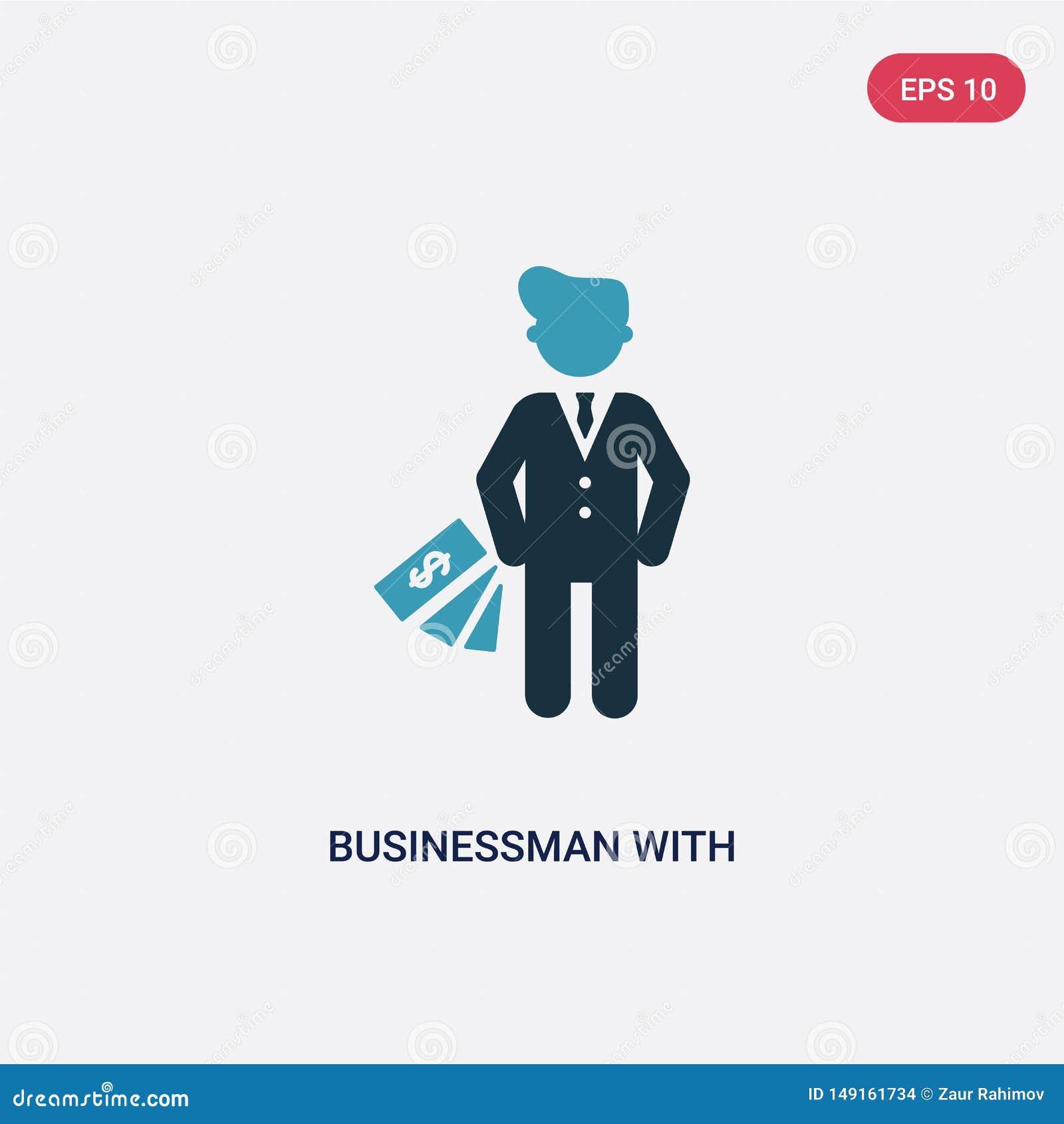 Бизнесмен 2 цветов со значком вектора валюты евро от концепции людей изолированный голубой бизнесмен со знаком вектора валюты евр