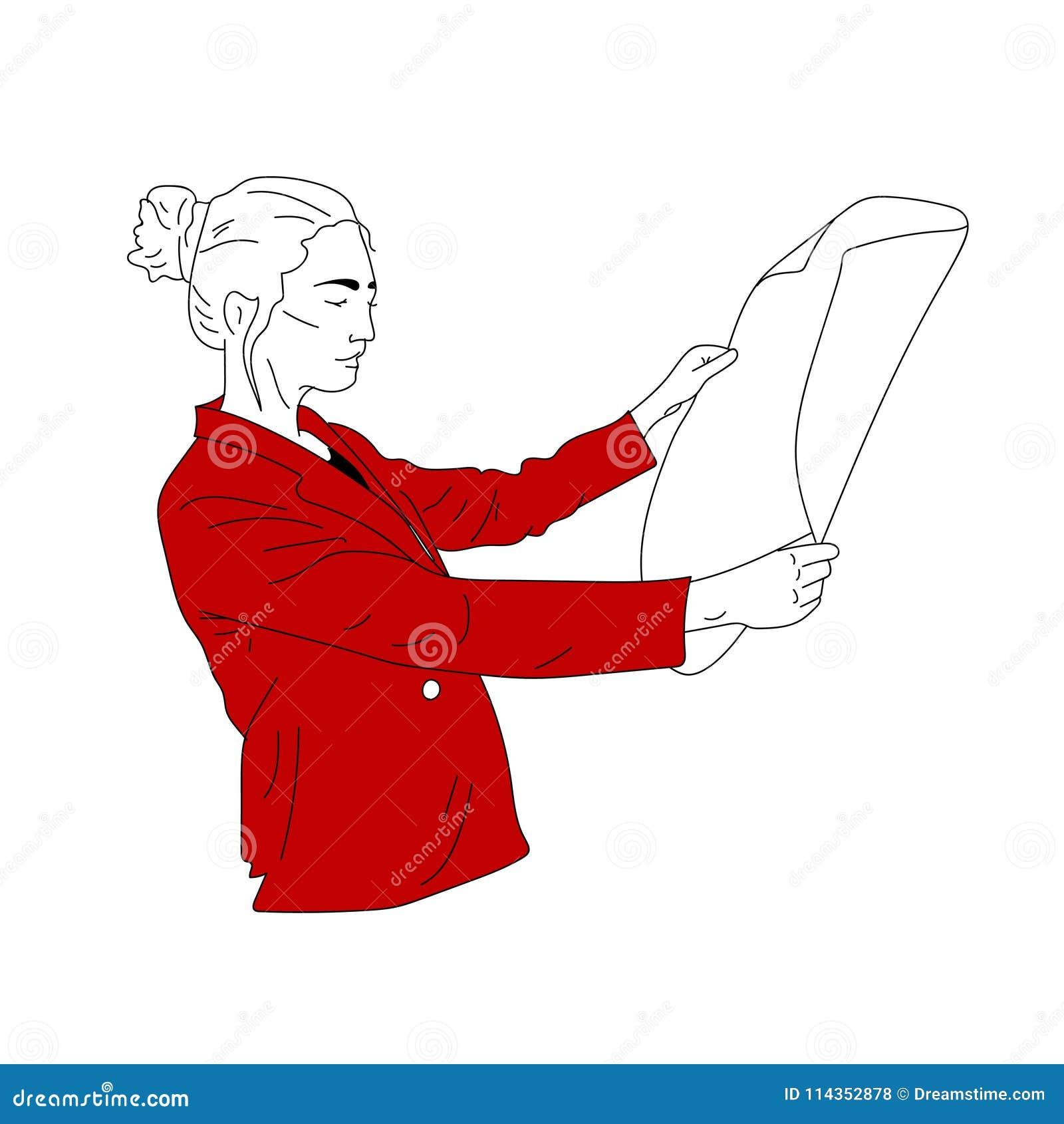 Бизнес-леди в красной куртке смотрит документ, чертежи, эскизы