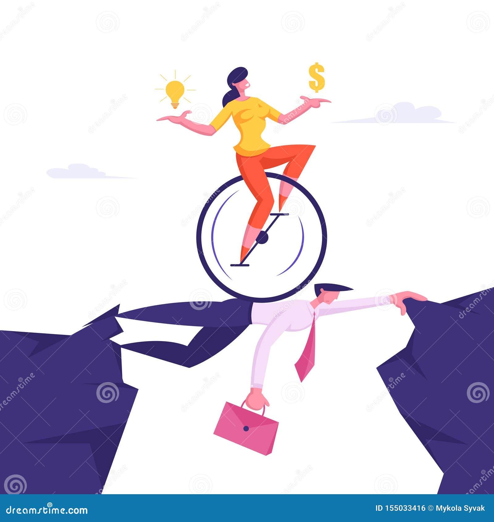 Бизнес-леди на Monowheel с долларом и электрической лампочкой в руках ехать наверху коллеги бизнесмена
