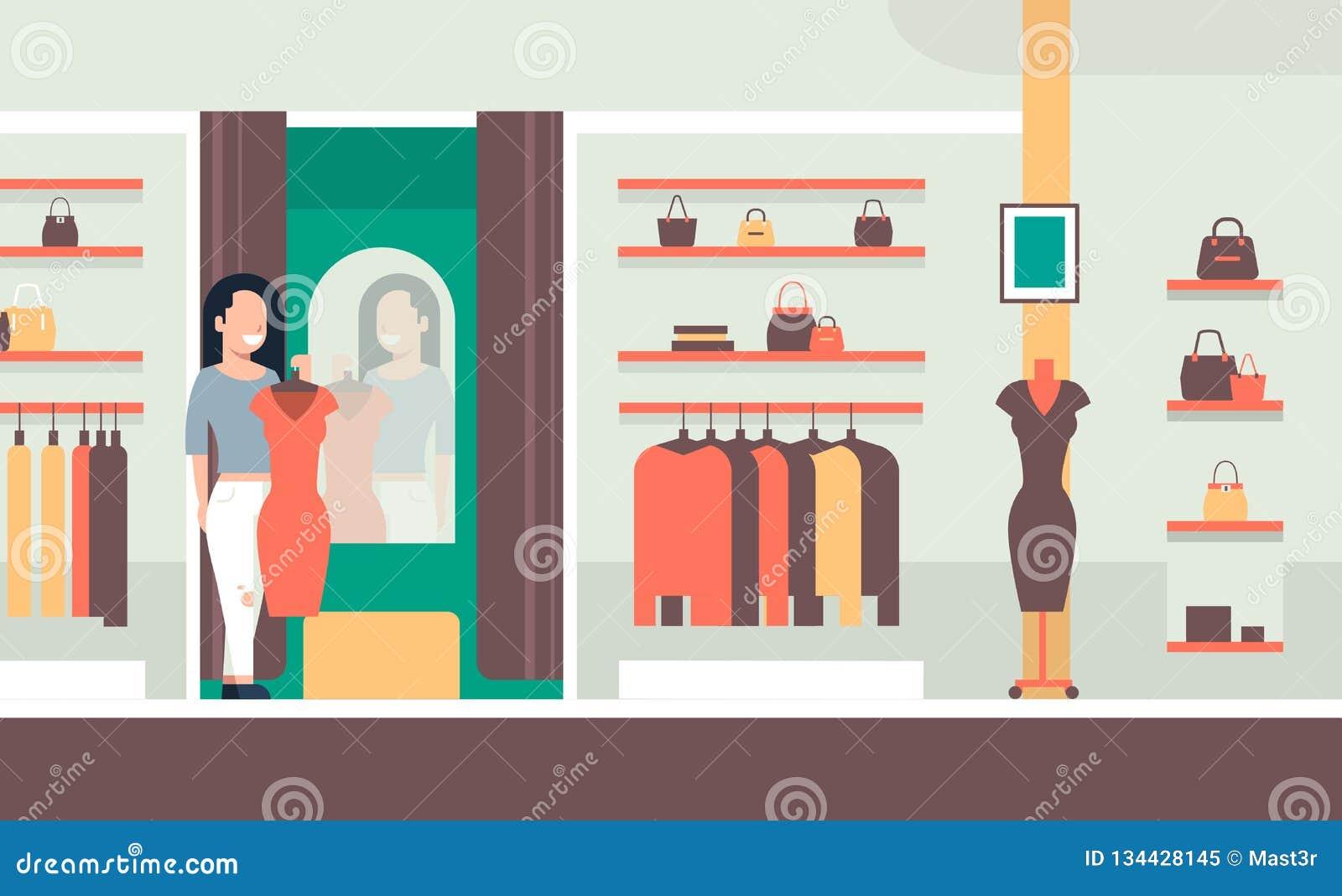 c165b6dbdb3 Бизнес-леди пробуя на женщине нового платья элегантной смотря одежды  магазина моды зеркала женские выходит иллюстрацию вышед на рынок на рынок  вектора ...