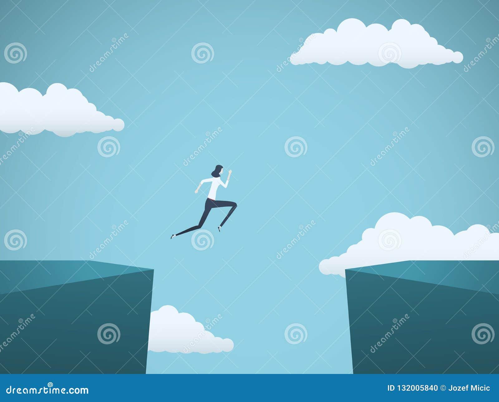 Бизнес-леди скачет через концепцию вектора зазора Символ проблемы дела, возможности, успеха, гонора и