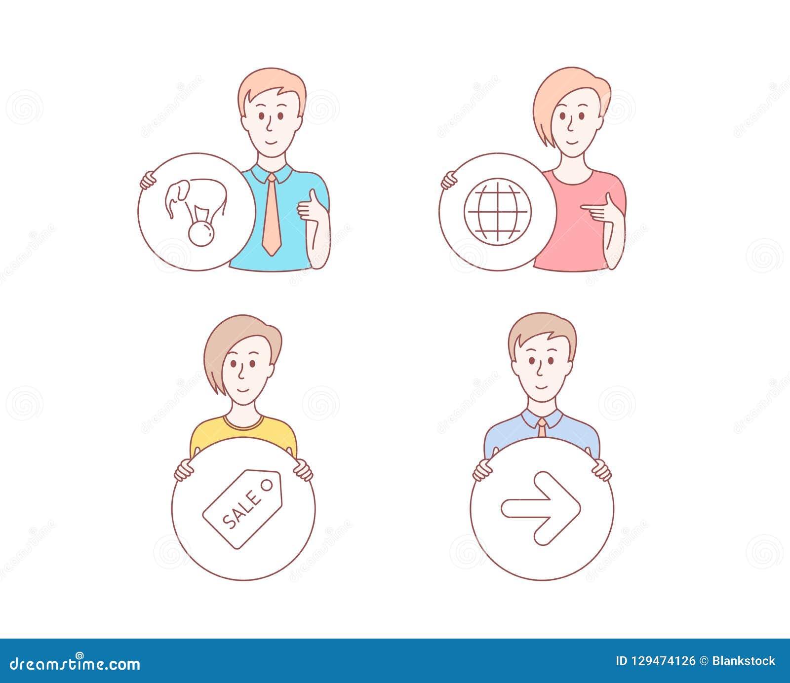 Билет, глобус и слон продажи на значках шарика Следующий знак Уцените талон, мир интернета, выставку цирка вектор