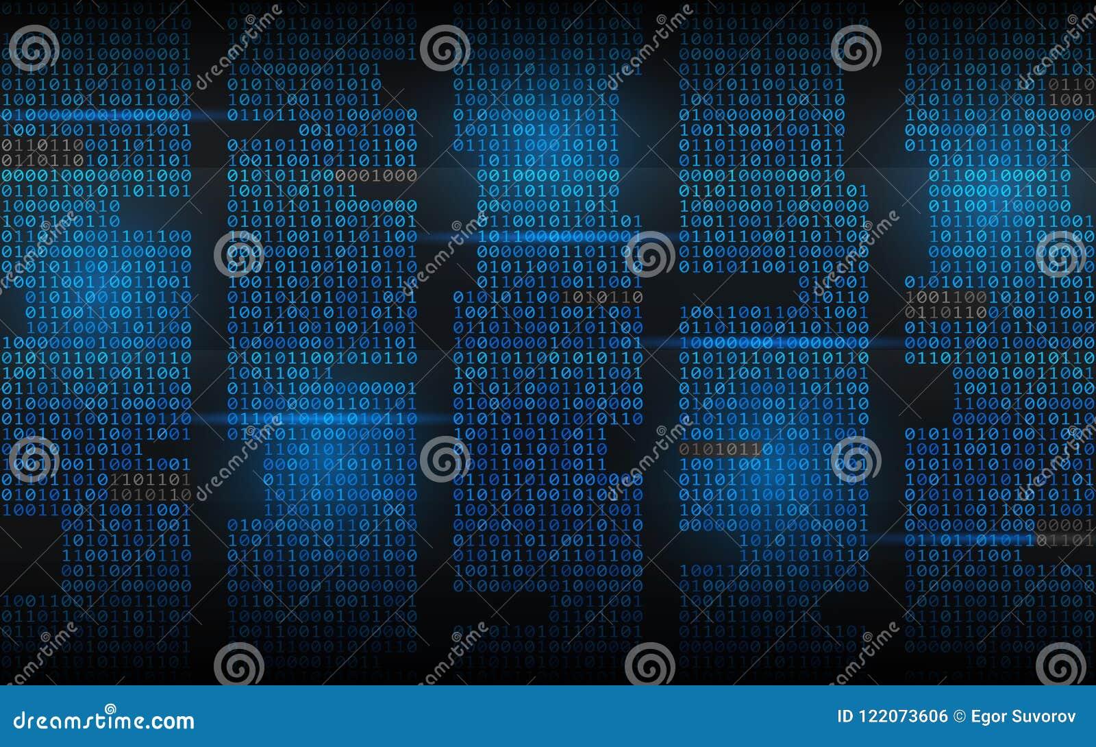 Бинарная предпосылка Абстрактный течь код Числа матрицы на темном фоне Голубые столбцы с светами Прорубленная концепция
