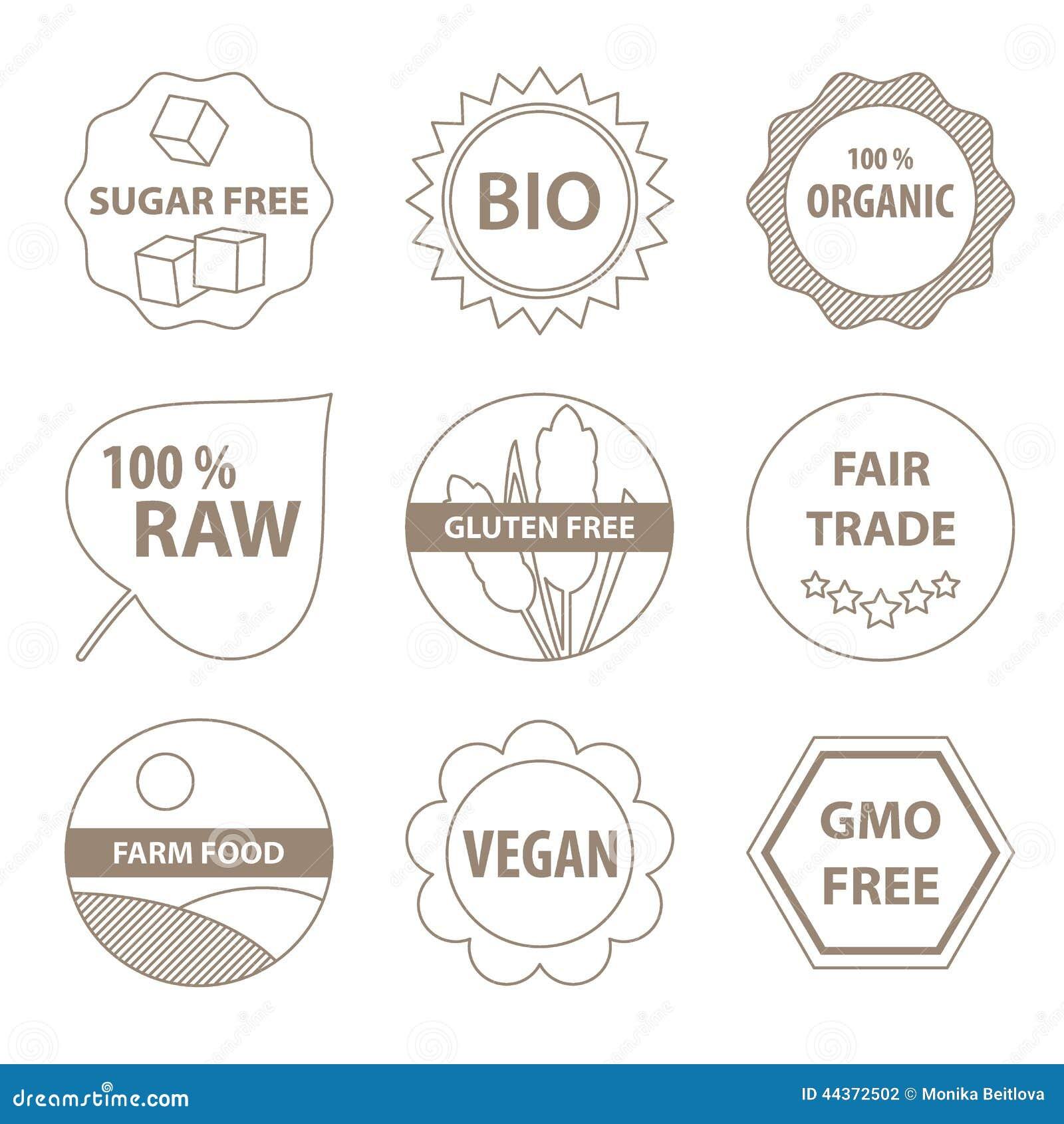 Био и здоровые значки еды