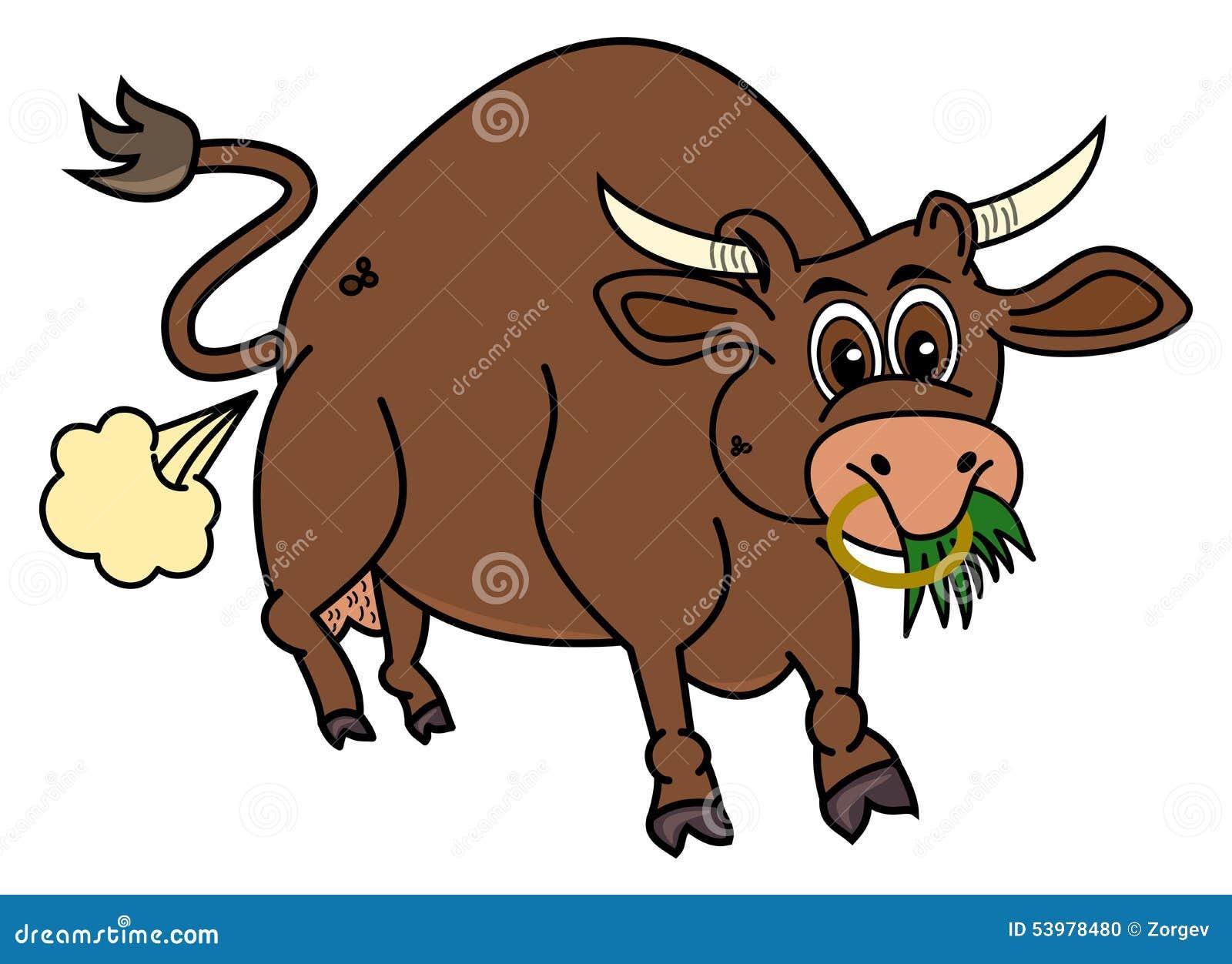 Био коричневый бык который ест траву